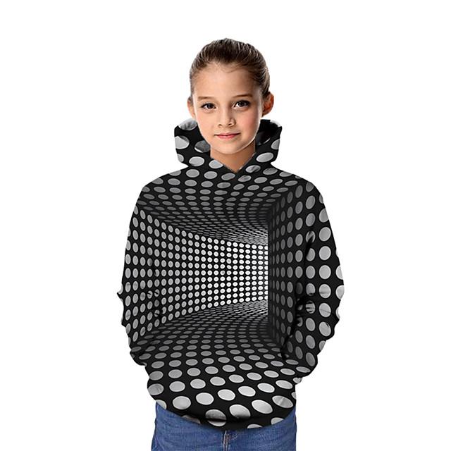 Kinderen Voor meisjes Hoodie en sweatshirt Lange mouw Grafisch 3D Opdruk Kinderen Tops Actief Zwart