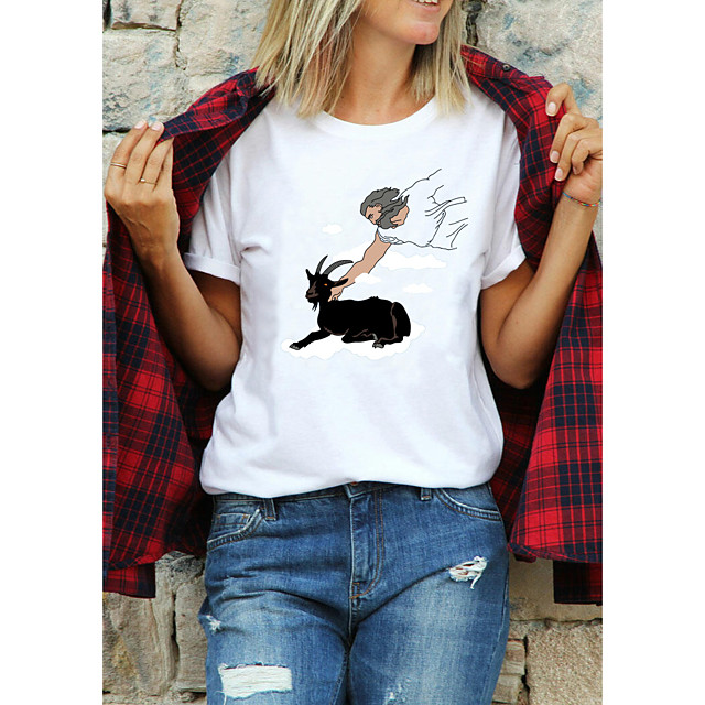 Women's T shirt Text Letter Print Round Neck Tops 100% Cotton Basic Basic Top White Purple Red