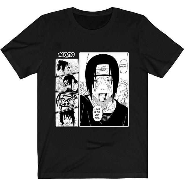 Inspired by Naruto Akatsuki Uchiha Itachi Cosplay Costume T-shirt Polyester / Cotton Blend Graphic Prints T-shirt For Women's / Men's