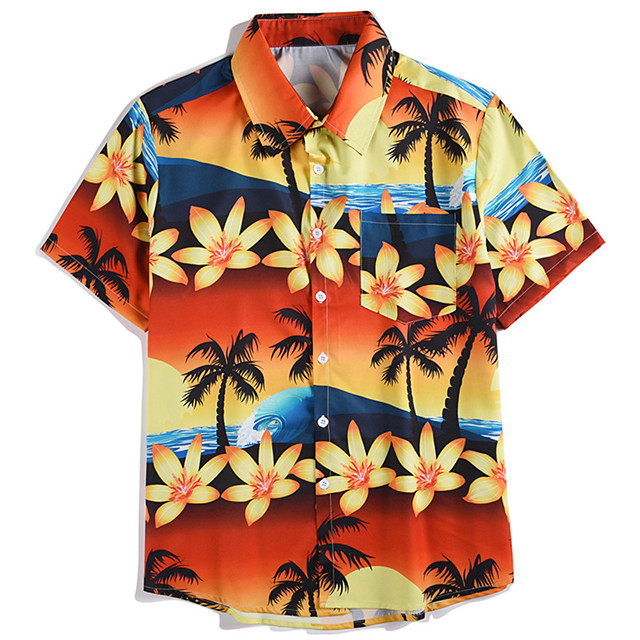 Men's Shirt 3D Print Plants Floral Button-Down Print Short Sleeve Street Tops Casual Hawaiian Orange