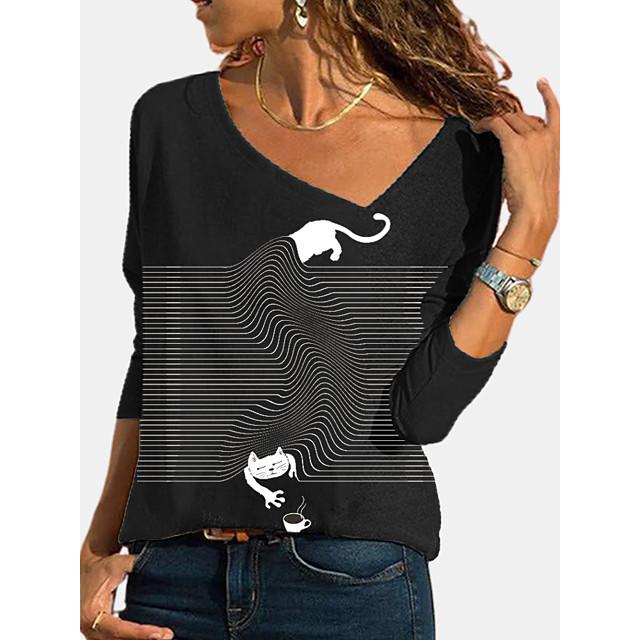 نسائي تي شيرت مخطط قطة الرسم كم طويل طباعة عنق قطري قمم أساسي القمة الأساسية أسود رمادي فاتح رمادي غامق