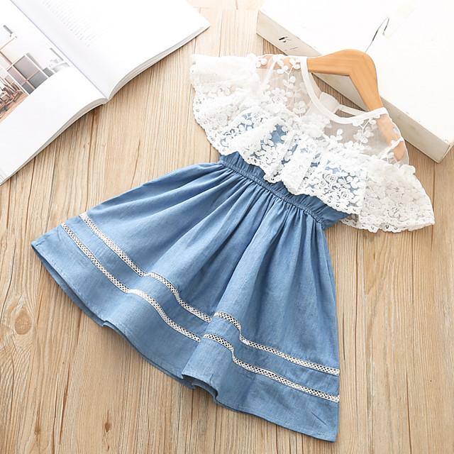 Kids Little Girls' Dress Solid Colored Patchwork Lace Trims Blue Knee-length Sleeveless Basic Cute Dresses Regular Fit