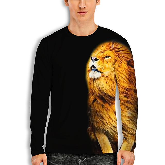 Men's T shirt 3D Print 3D Lion Animal 3D Print Long Sleeve Daily Tops Casual Black