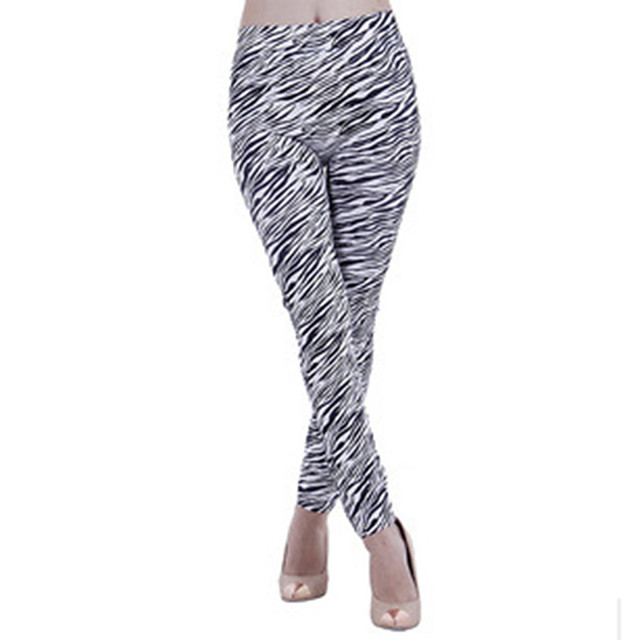 Women's Stylish Streetwear Comfort Casual Weekend Leggings Pants Zebra Ankle-Length Print Black