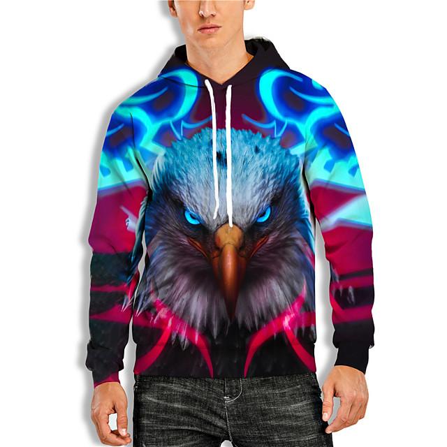 Men's Pullover Hoodie Sweatshirt Graphic Animal Print Daily Holiday 3D Print Basic Casual Hoodies Sweatshirts  Red