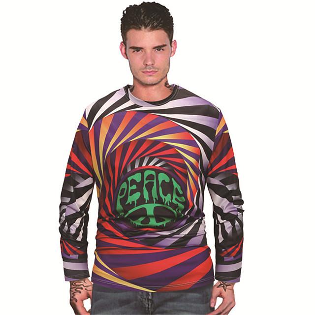 Men's T shirt 3D Print Abstract Graphic Prints 3D Print Long Sleeve Daily Tops Casual Beach Rainbow