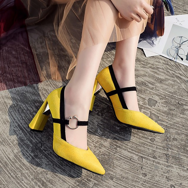 Women's Wedding Shoes Chunky Heel Pointed Toe Wedding Pumps Wedding Daily PU Synthetics Yellow Red Brown