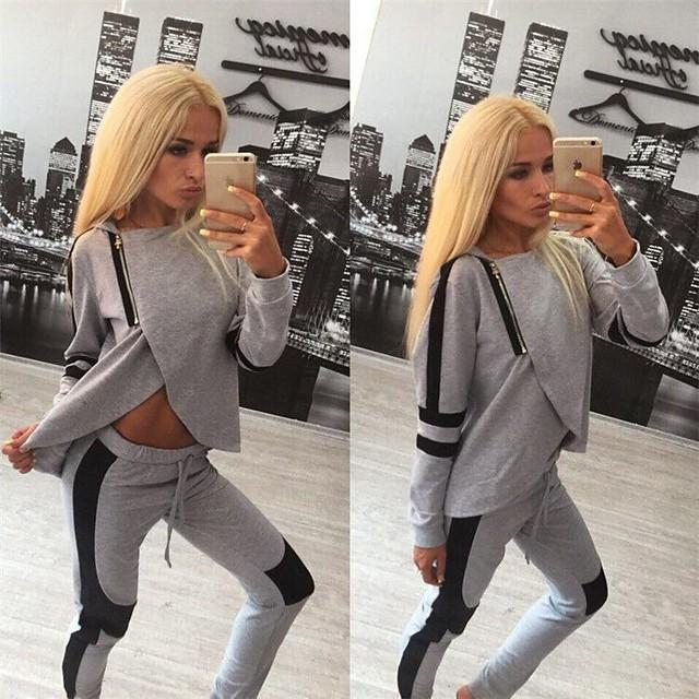 dames trainingspak set split rits truien sweatshirt + broek tweedelig trainingspak set loungewear (s) grijs