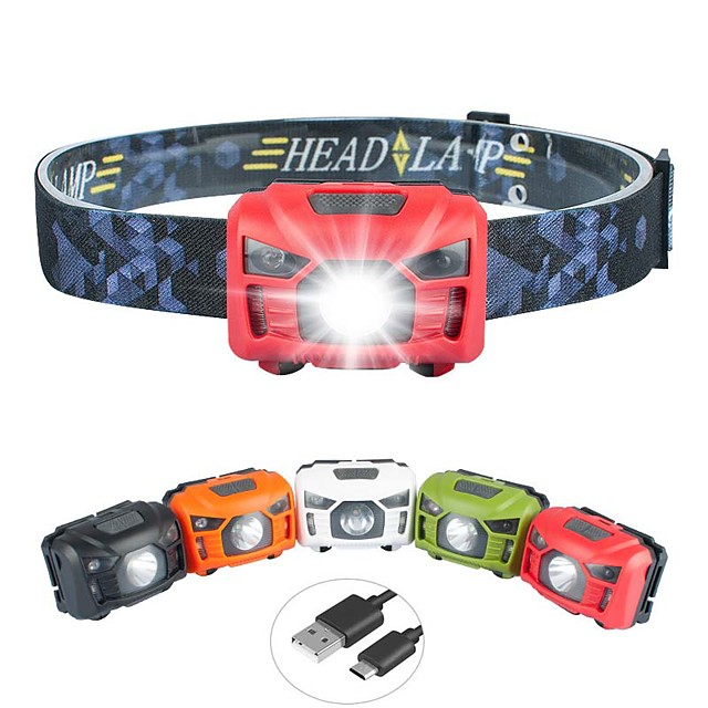 lampe de poche lampe frontale usb, lampe frontale étanche rechargeable led, lampe frontale 500 lumens avec lumière rouge, capteur de mouvement, 5 modes d'éclairage lampe frontale haute puissance,