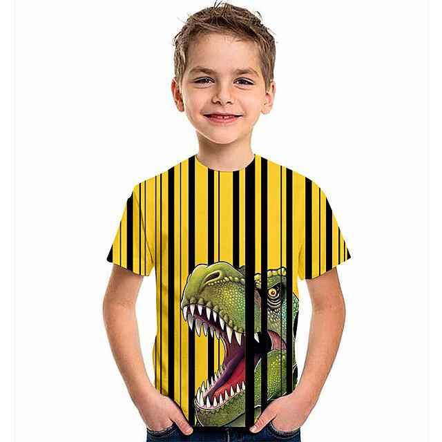 أطفال للصبيان تي شيرت كنزة مطبوعة كم قصير ديناصور الرسم 3D حيوان طباعة أطفال قمم نشيط أصفر