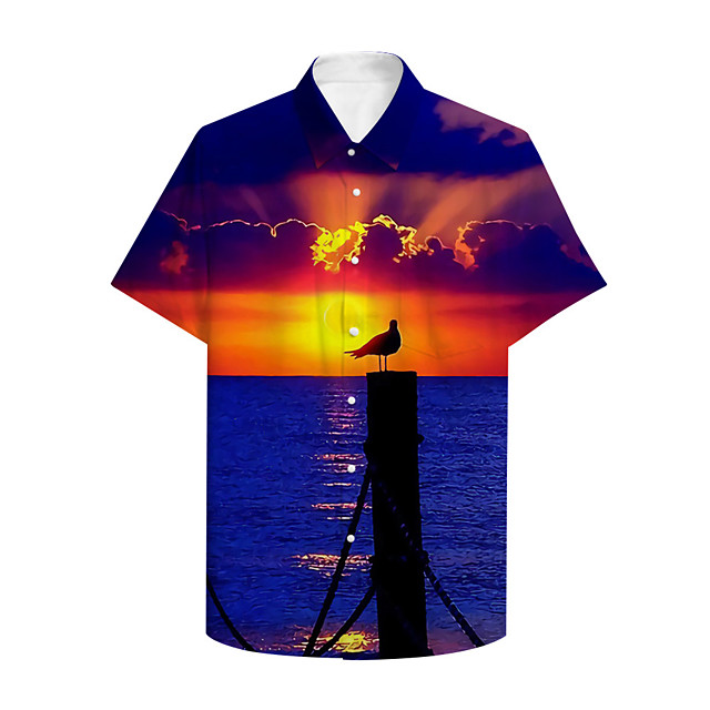 Men's Shirt 3D Print Graphic Scenery Print Short Sleeve Daily Tops Basic Casual Blue