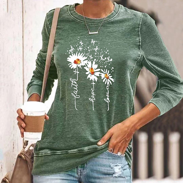 Women's T shirt Graphic Flower Long Sleeve Round Neck Tops Basic Basic Top Black Blue Yellow