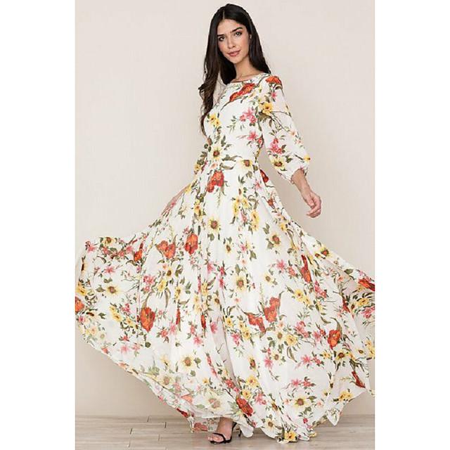 Women's Sheath Dress Maxi long Dress White 3/4 Length Sleeve Floral Print Fall Spring Round Neck Elegant Boho vacation dresses 2021 S M L XL