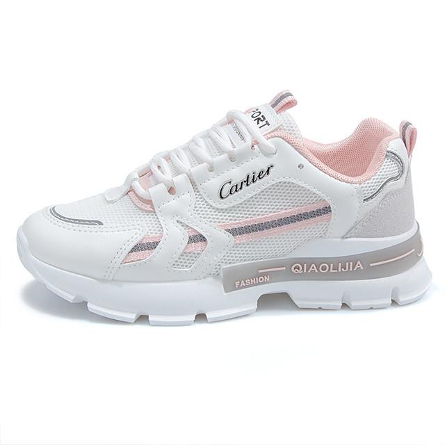 نسائي أحذية رياضية كعب مسطخ أمام الحذاء على شكل دائري رياضي كاجوال أحذية أبي رياضي الأماكن المفتوحة الركض المشي PU دانتيل أسود زهري أخضر