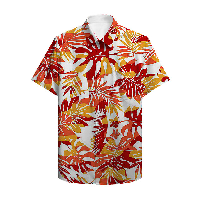 Men's Shirt Other Prints Plants Button-Down Print Short Sleeve Casual Tops Casual Hawaiian Orange