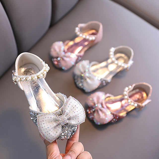 Girls' Sandals Princess Shoes PU Beading Little Kids(4-7ys) Big Kids(7years +) Daily Walking Shoes Pink Silver Summer