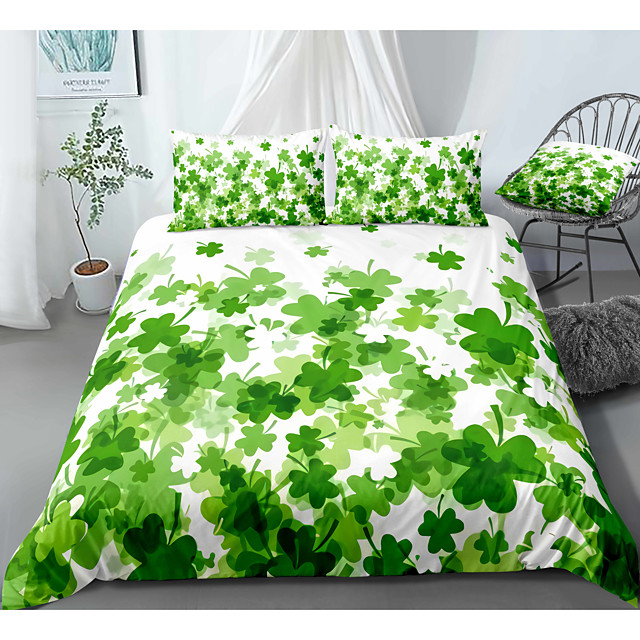 St.Patrick's Clover 3-Piece Duvet Cover Set Hotel Bedding Sets Comforter Cover with Soft Lightweight Microfiber, Include 1 Duvet Cover, 2 Pillowcases for Double/Queen/King(1 Pillowcase for Twin/Single)