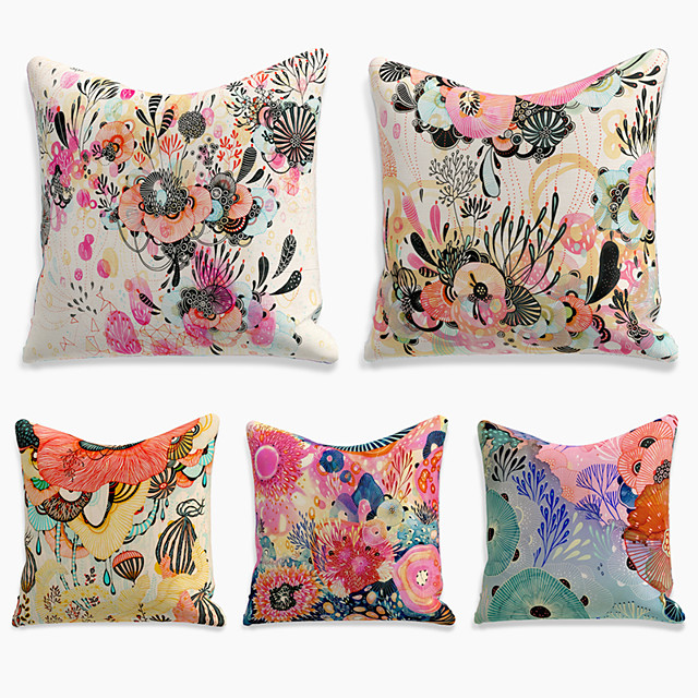5 pcs Linen Pillow Cover, Floral&Plants Simple Casual Square Polyester Traditional Classic