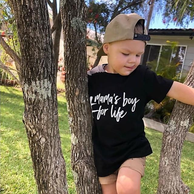 Kids Boys' T shirt Tee Short Sleeve Letter Print Children Tops Active Basic Black