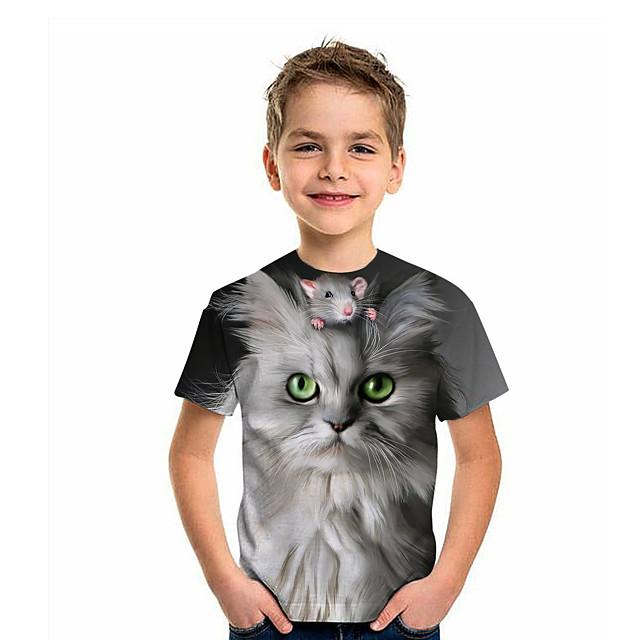 Kids Boys' T shirt Tee Short Sleeve Cat Graphic 3D Animal Print Children Tops Active Gray