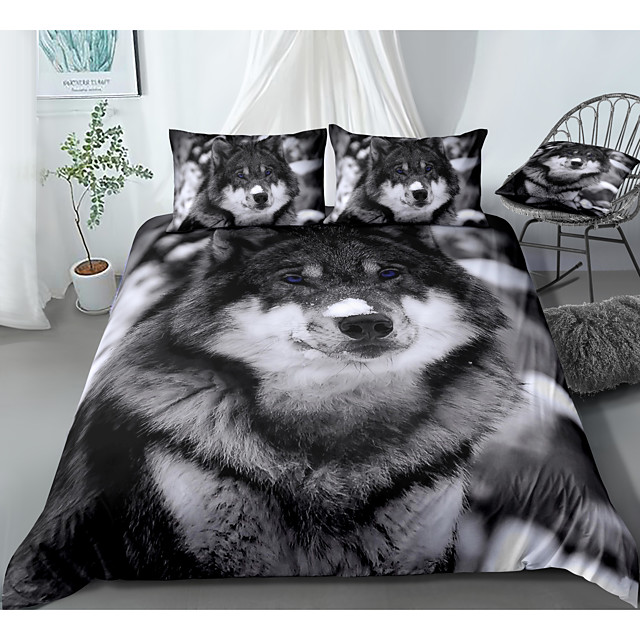 animal series wolf print 3-piece duvet cover set hotel bedding sets comforter cover with soft lightweight microfiber, include 1 duvet cover, 2 pillowcases for double/queen/king(1 pillowcase for