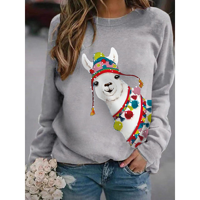 Women's Pullover Sweatshirt Graphic 3D Print Daily Other Prints Basic Casual Hoodies Sweatshirts  Black Blushing Pink Navy Blue