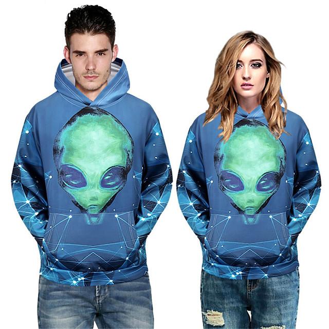 Men's Pullover Hoodie Sweatshirt Graphic Prints Character Devil Print Sports & Outdoor Daily 3D Print Casual Hoodies Sweatshirts  Blue