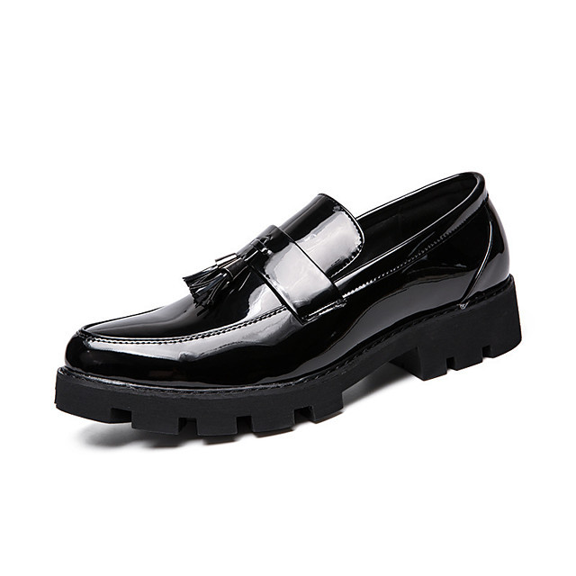 Men's Loafers & Slip-Ons Business Casual Daily Office & Career Walking Shoes Pigskin Breathable Non-slipping Height-increasing Black Blue Color Block Fall Spring / Tassel