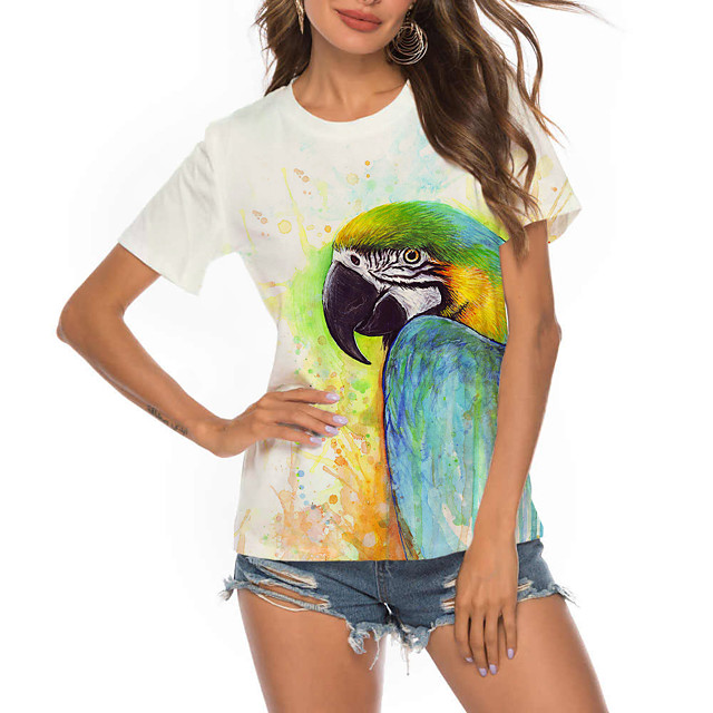 Women's T shirt Graphic 3D Bird Print Round Neck Tops Basic Basic Top White