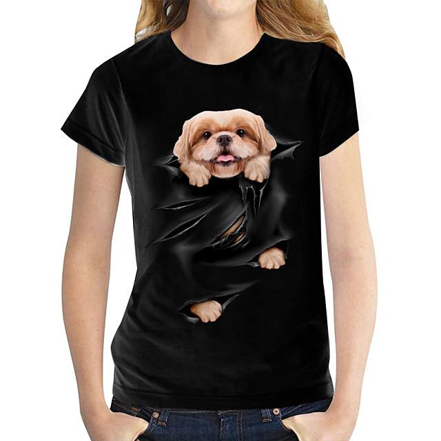 Women's T shirt Dog Graphic 3D Print Round Neck Tops 100% Cotton Basic Basic Top White Black