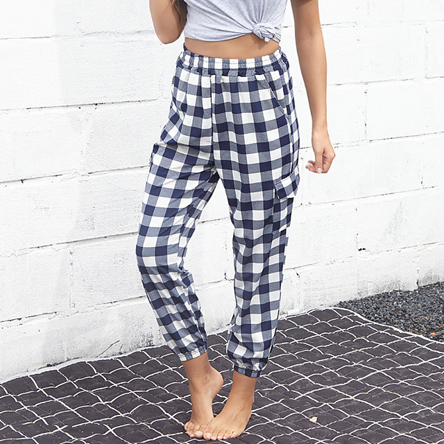 Women's Streetwear Chino Breathable Comfort Casual Going out Pants Pants Lattice Full Length Pocket Black Blue