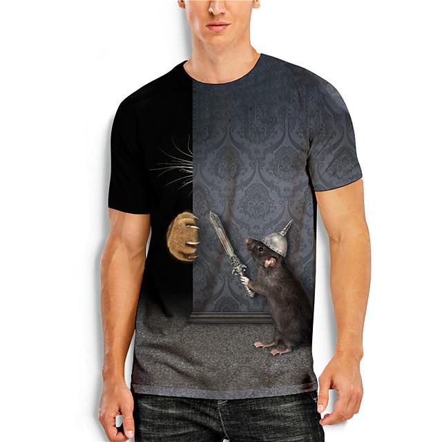 Men's T shirt 3D Print 3D Animal 3D Print Short Sleeve Daily Tops Casual Gray