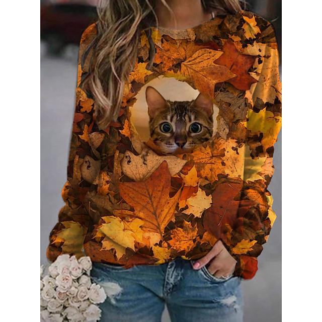 Women's Pullover Sweatshirt Cat Graphic 3D Print Daily 3D Print Basic Casual Hoodies Sweatshirts  Orange