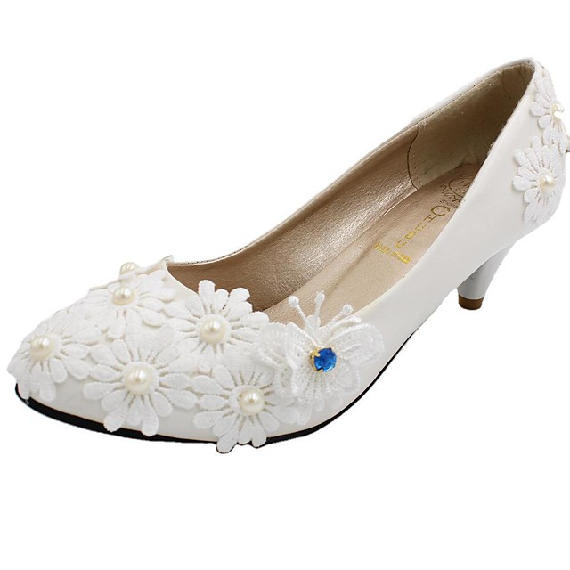 Women's Wedding Shoes Chunky Heel Round Toe Wedding Pumps Sweet Wedding Walking Shoes PU Rhinestone Pearl Lace Floral 5 cm with the same style [standard code] Same style with flat bottom [standard