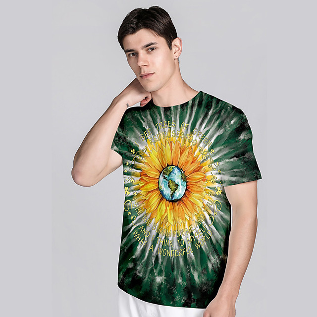 Men's T shirt 3D Print Floral Graphic Prints 3D Print Short Sleeve Daily Tops Casual Beach Black
