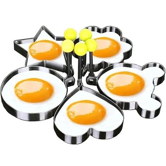 5 قطع مجموعة قالب البيض المقلي حلقات فطيرة على شكل عجة العفن العفن القلي البيض أدوات الطبخ لوازم المطبخ اكسسوارات الأداة