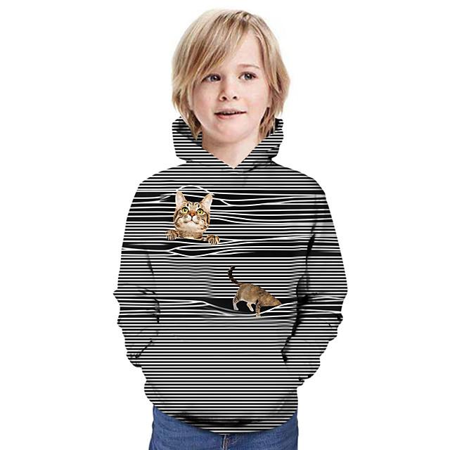 Kinderen Jongens Hoodie en sweatshirt Lange mouw Kat Grafisch 3D dier Opdruk Kinderen Tops Actief Zwart