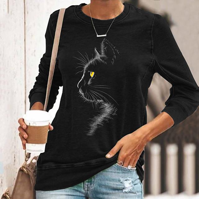 Dames T-shirt Kat Grafisch Lange mouw Opdruk Ronde hals Tops Basic Basis-top Zwart