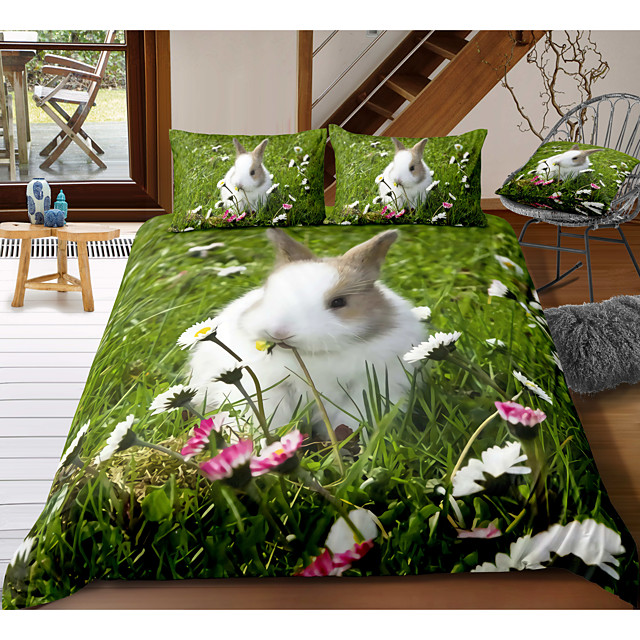 Easter Bunny 3-Piece Duvet Cover Set Hotel Bedding Sets Comforter Cover with Soft Lightweight Microfiber, Include 1 Duvet Cover, 2 Pillowcases for Double/Queen/King(1 Pillowcase for Twin/Single)