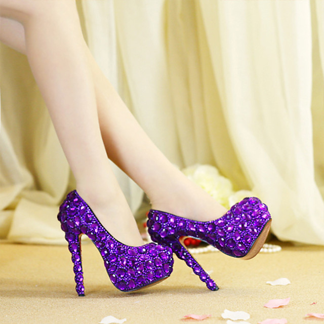 Women's Wedding Shoes Platform Round Toe Wedding Pumps Vintage Sexy Roman Shoes Wedding Party & Evening PU Rhinestone Crystal Sparkling Glitter Solid Colored Color Block Purple