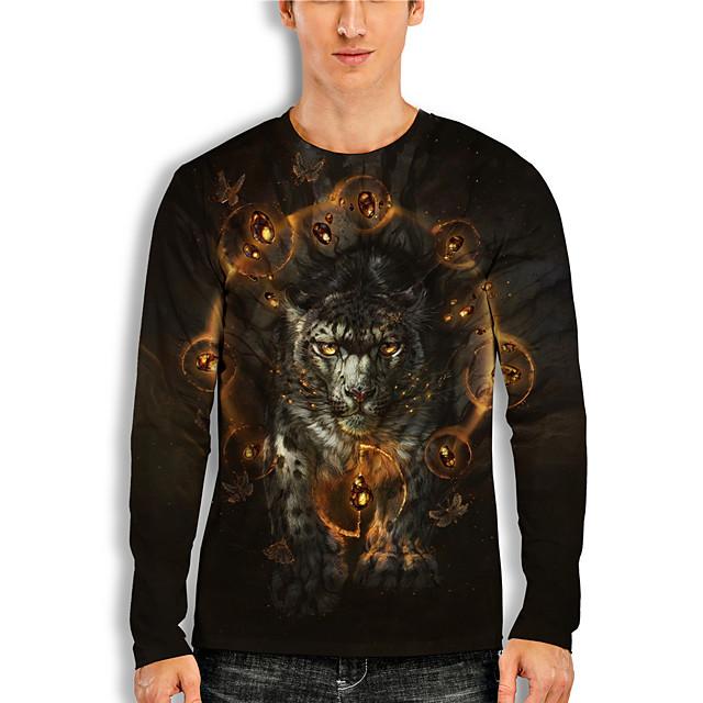 Men's T shirt 3D Print 3D Tiger Animal 3D Print Long Sleeve Daily Tops Casual Black