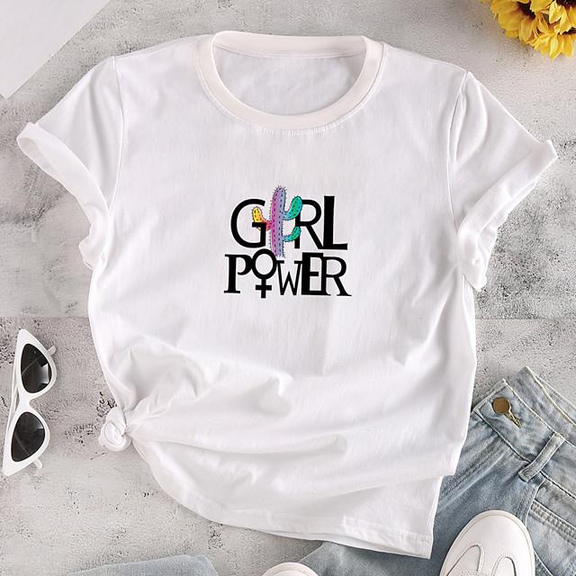 Women's T shirt Graphic Text Print Round Neck Tops 100% Cotton Basic Basic Top White Yellow Blushing Pink