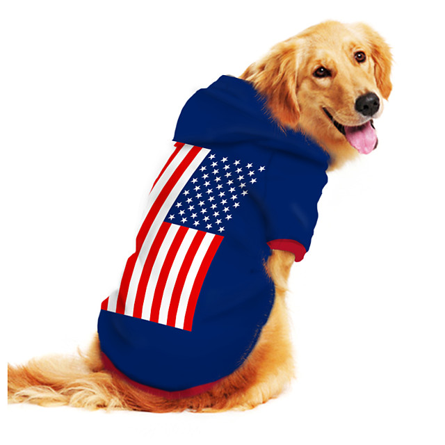 Dog Hoodie Sweatshirt Print Flag National Flag Fashion Cool Funny Casual / Daily Outdoor Dog Clothes Puppy Clothes Dog Outfits Breathable Blue Costume for Girl and Boy Dog Polyster S M L XL