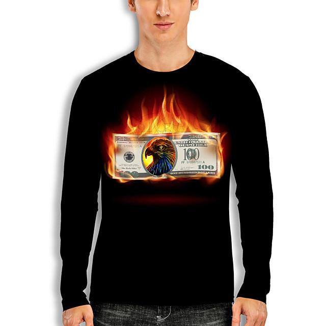 Men's T shirt 3D Print Graphic Eagle Animal Print Long Sleeve Daily Tops Basic Casual Black