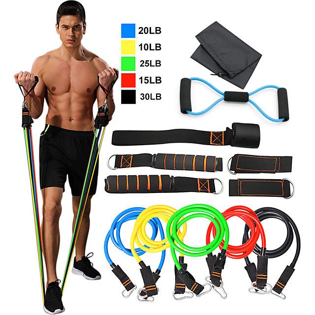 Set de benzi de rezistență 12 pcs 5 benzi de exerciții stivuibile Ancora de ancorare Picioare curele de glezne Sport TPE Acasă antrenament Fitness Pilates Carabinieră grea Antrenament for