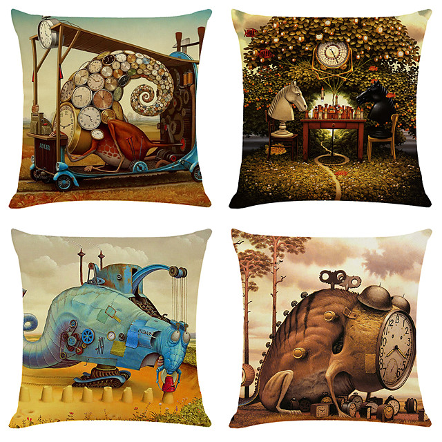 4 pcs Linen Pillow Cover, Print Simple Classic Square Zipper Traditional Classic