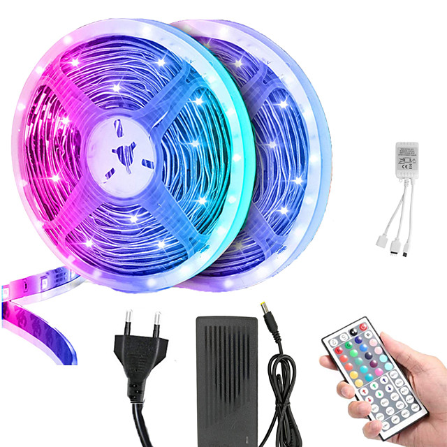 5M//10M//15M RGB Waterproof LED Strip Light 5050 SMD 44 Key Remote 12V Full Kit