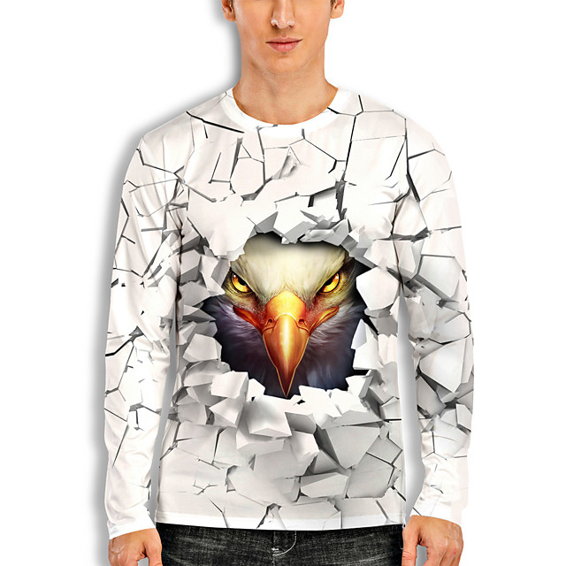 Men's T shirt 3D Print Graphic Eagle Animal Print Long Sleeve Daily Tops Basic Casual White