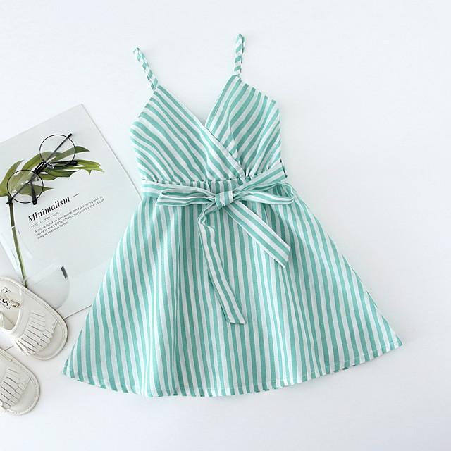 Toddler Little Girls' Dress Striped Lace up Blushing Pink Green Navy Blue Knee-length Sleeveless Basic Dresses Regular Fit