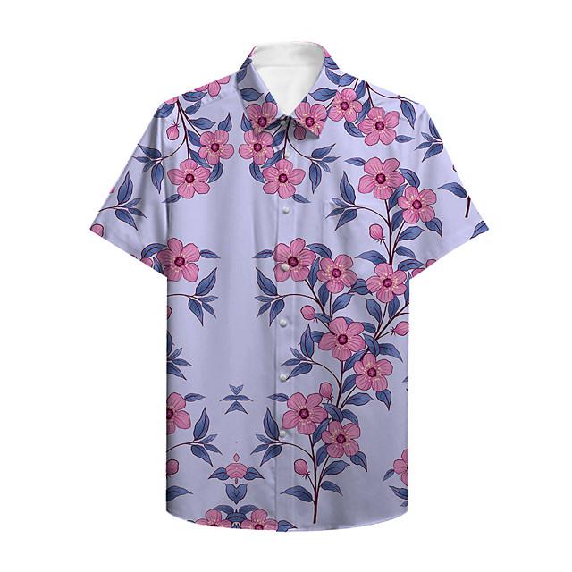رجالي قميص مطبوعات أخرى النباتات ورد زر أسفل طباعة كم قصير فضفاض قمم كاجوال ستايل هاواي أرجواني